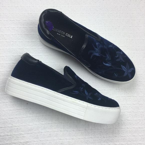 d93ff8ed2c6 Kenneth Cole Velvet Floral Platform Flats Sneakers